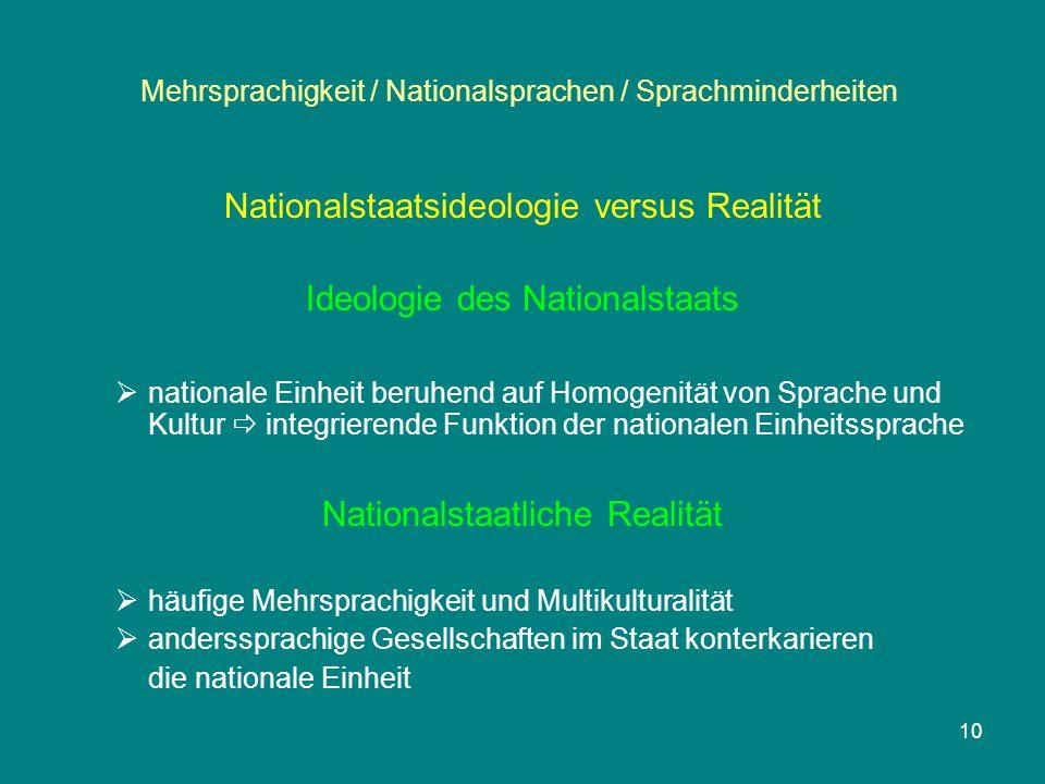 10 Mehrsprachigkeit / Nationalsprachen / Sprachminderheiten Nationalstaatsideologie versus Realität Ideologie des Nationalstaats  nationale Einheit b