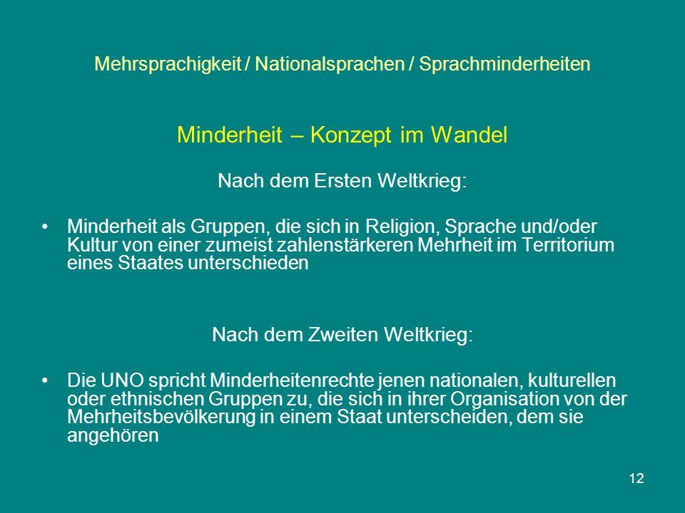 Mehrsprachigkeit / Nationalsprachen / Sprachminderheiten Minderheit – Konzept im Wandel Nach dem Ersten Weltkrieg: Minderheit als Gruppen, die sich in