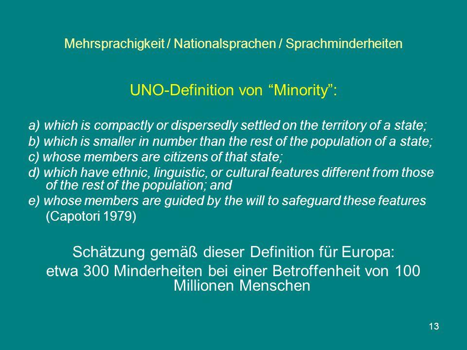 """Mehrsprachigkeit / Nationalsprachen / Sprachminderheiten UNO-Definition von """"Minority"""": a) which is compactly or dispersedly settled on the territory"""