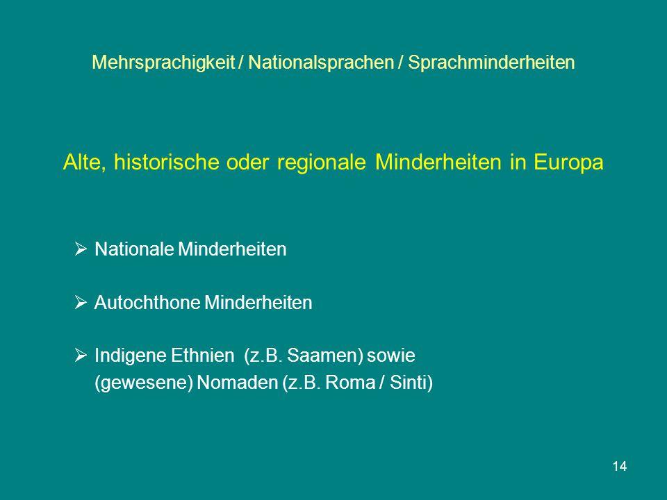 Mehrsprachigkeit / Nationalsprachen / Sprachminderheiten Alte, historische oder regionale Minderheiten in Europa  Nationale Minderheiten  Autochthon