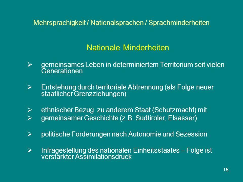 15 Mehrsprachigkeit / Nationalsprachen / Sprachminderheiten Nationale Minderheiten  gemeinsames Leben in determiniertem Territorium seit vielen Gener
