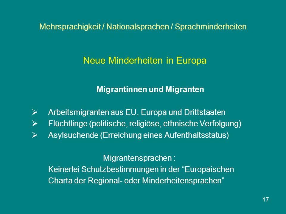 17 Mehrsprachigkeit / Nationalsprachen / Sprachminderheiten Neue Minderheiten in Europa Migrantinnen und Migranten  Arbeitsmigranten aus EU, Europa u