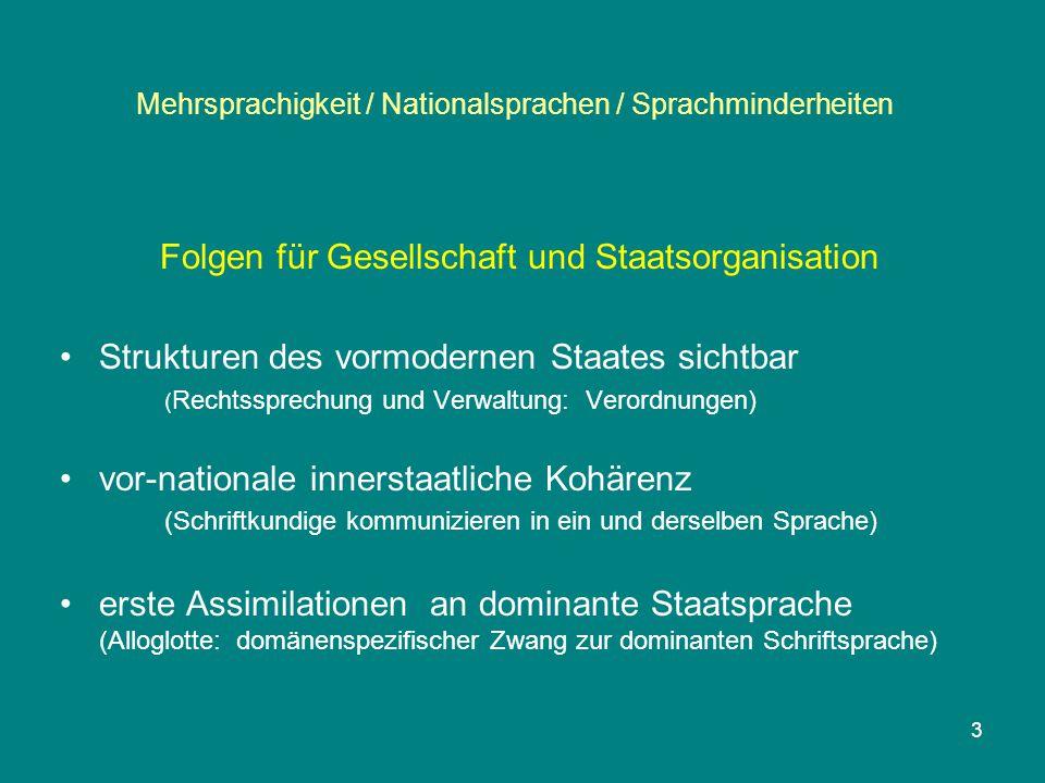 3 Mehrsprachigkeit / Nationalsprachen / Sprachminderheiten Folgen für Gesellschaft und Staatsorganisation Strukturen des vormodernen Staates sichtbar