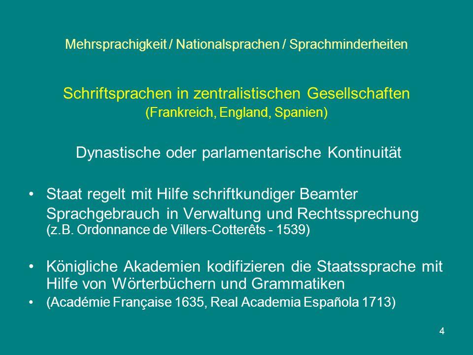 Mehrsprachigkeit / Nationalsprachen / Sprachminderheiten Schriftsprachen in zentralistischen Gesellschaften (Frankreich, England, Spanien) Dynastische