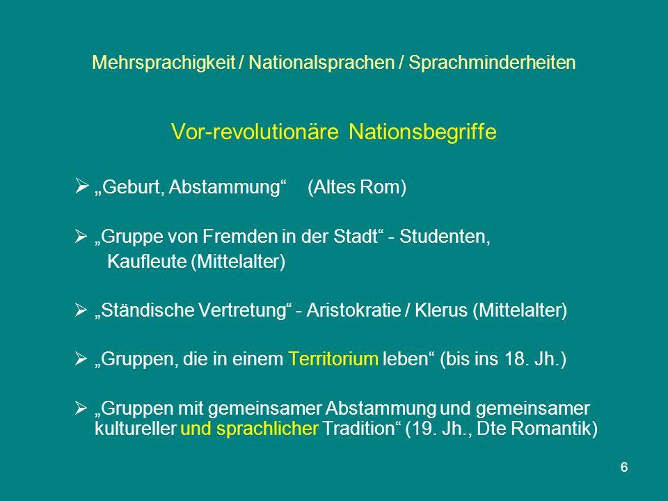 """6 Mehrsprachigkeit / Nationalsprachen / Sprachminderheiten Vor-revolutionäre Nationsbegriffe  """" Geburt, Abstammung"""" (Altes Rom)  """"Gruppe von Fremden"""