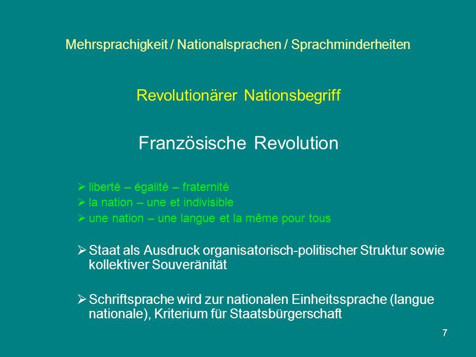7 Mehrsprachigkeit / Nationalsprachen / Sprachminderheiten Revolutionärer Nationsbegriff Französische Revolution  liberté – égalité – fraternité  la