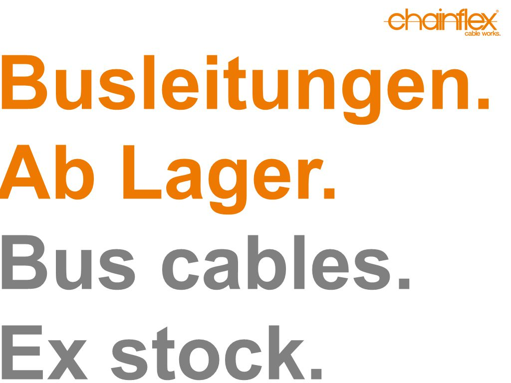Busleitungen. Ab Lager. Bus cables. Ex stock.