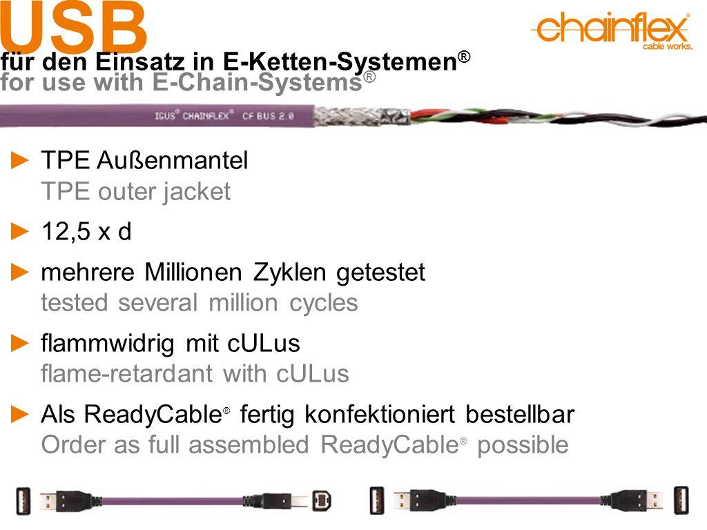 USB für den Einsatz in E-Ketten-Systemen ® for use with E-Chain-Systems ® ►TPE Außenmantel TPE outer jacket ►12,5 x d ►mehrere Millionen Zyklen getest