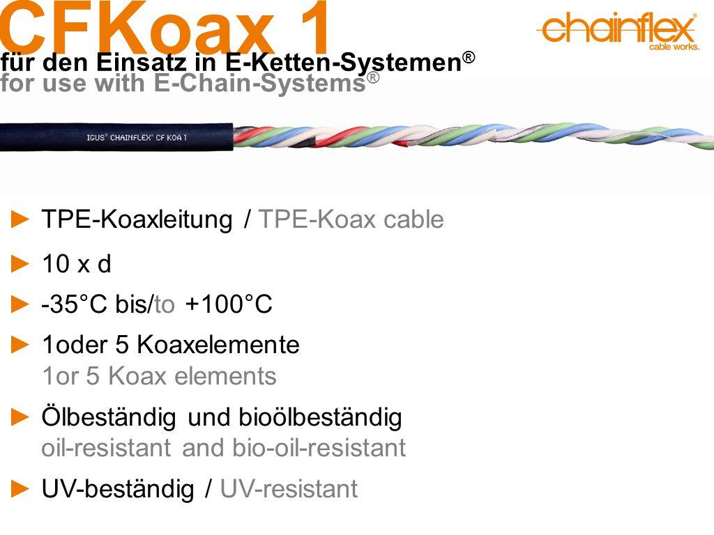 CFKoax 1 für den Einsatz in E-Ketten-Systemen ® for use with E-Chain-Systems ® ►TPE-Koaxleitung / TPE-Koax cable ►10 x d ►-35°C bis/to +100°C ►1oder 5 Koaxelemente 1or 5 Koax elements ►Ölbeständig und bioölbeständig oil-resistant and bio-oil-resistant ►UV-beständig / UV-resistant