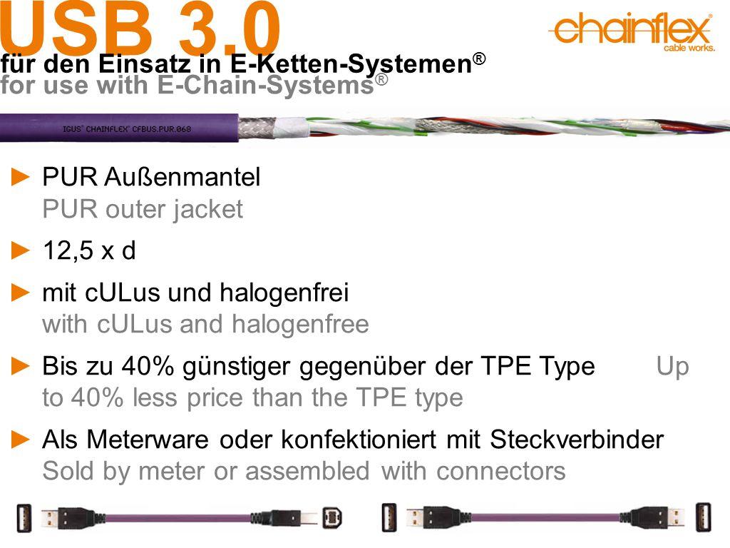 USB 3.0 für den Einsatz in E-Ketten-Systemen ® for use with E-Chain-Systems ® ►PUR Außenmantel PUR outer jacket ►12,5 x d ►mit cULus und halogenfrei w
