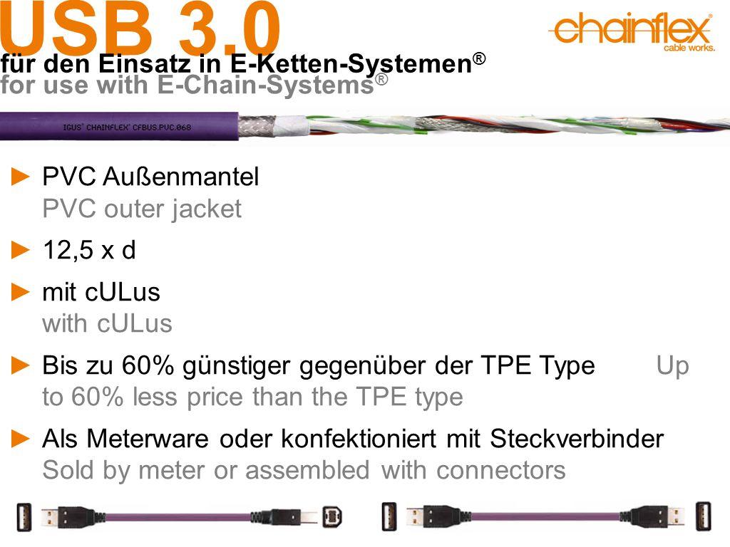 USB 3.0 für den Einsatz in E-Ketten-Systemen ® for use with E-Chain-Systems ® ►PVC Außenmantel PVC outer jacket ►12,5 x d ►mit cULus with cULus ►Bis z