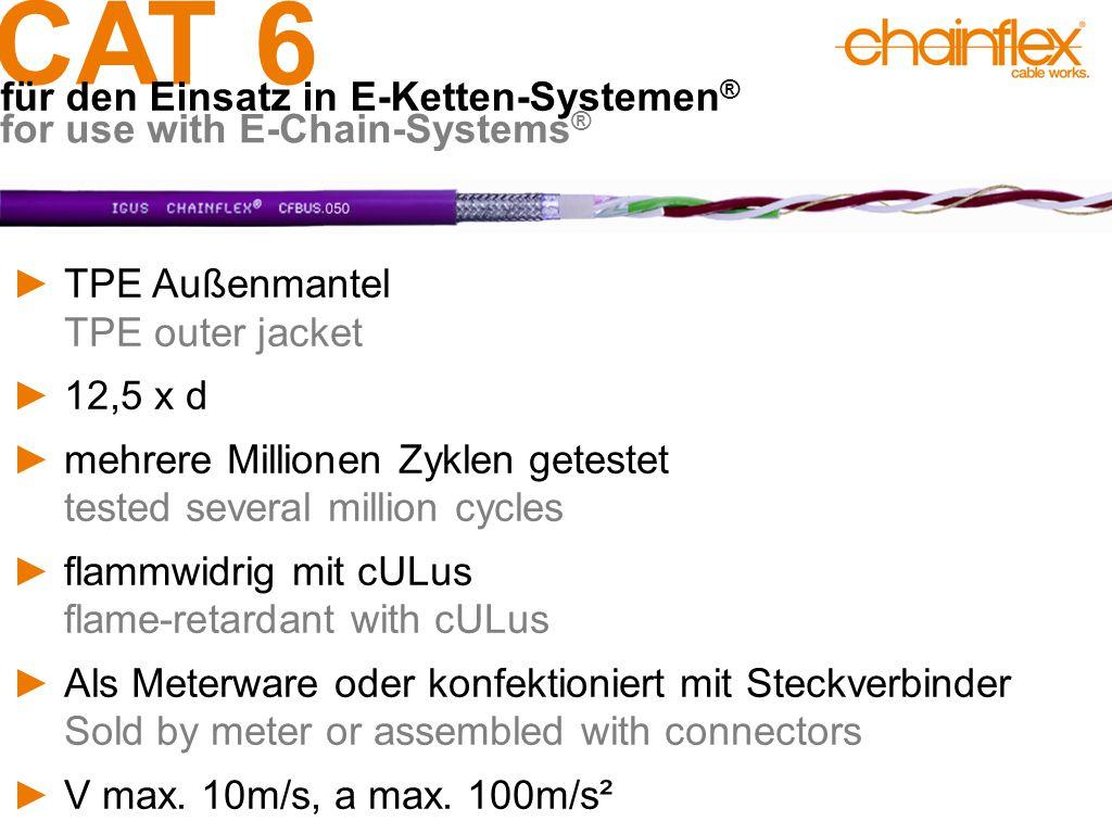 CAT 6 für den Einsatz in E-Ketten-Systemen ® for use with E-Chain-Systems ® ►TPE Außenmantel TPE outer jacket ►12,5 x d ►mehrere Millionen Zyklen gete