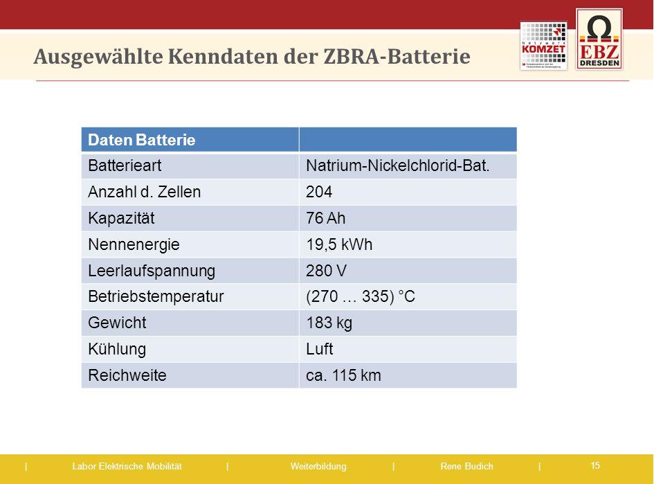 | Labor Elektrische Mobilität |Weiterbildung | Rene Budich | Ausgewählte Kenndaten der ZBRA-Batterie 15 Daten Batterie BatterieartNatrium-Nickelchlori