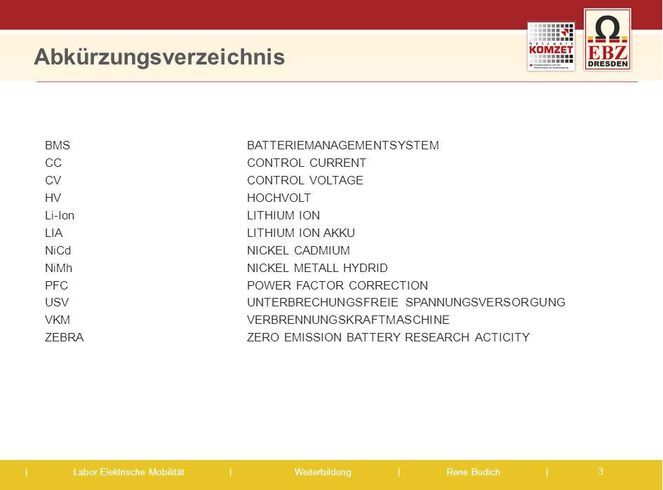 | Labor Elektrische Mobilität |Weiterbildung | Rene Budich | Abkürzungsverzeichnis BMS BATTERIEMANAGEMENTSYSTEM CCCONTROL CURRENT CVCONTROL VOLTAGE HV