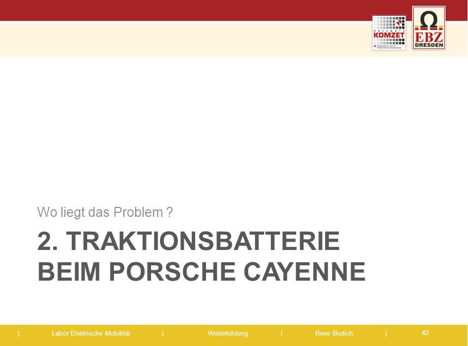 | Labor Elektrische Mobilität |Weiterbildung | Rene Budich | 2. TRAKTIONSBATTERIE BEIM PORSCHE CAYENNE Wo liegt das Problem ? 42