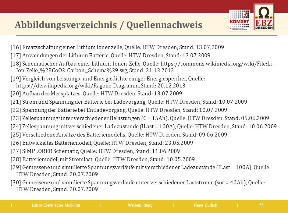 | Labor Elektrische Mobilität |Weiterbildung | Rene Budich | Abbildungsverzeichnis / Quellennachweis [16] Ersatzschaltung einer Lithium Ionenzelle, Qu