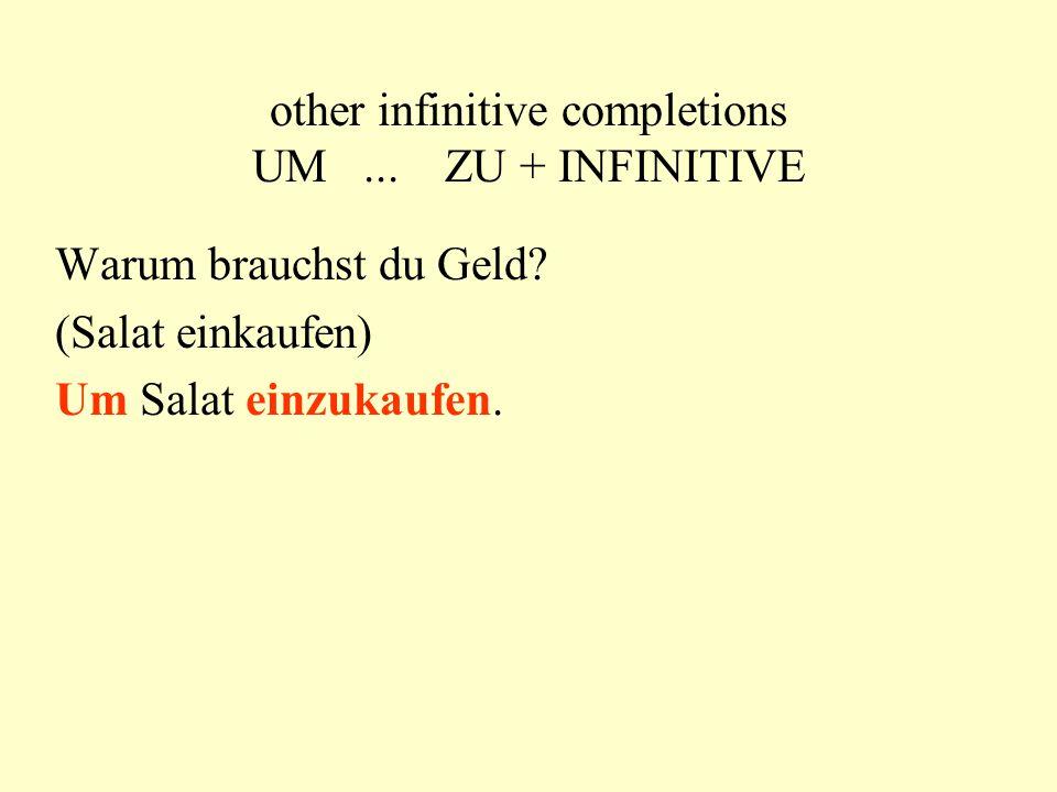 other infinitive completions UM... ZU + INFINITIVE Warum brauchst du Geld.