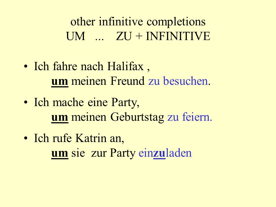 other infinitive completions UM...
