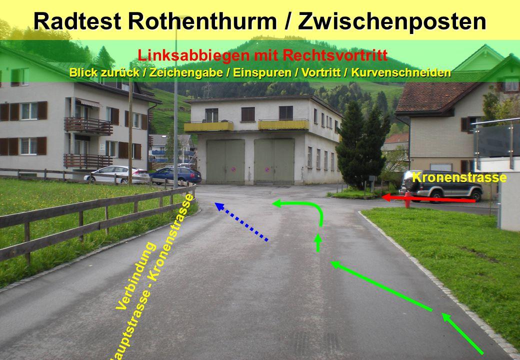 Radtest Rothenthurm / Zwischenposten Linksabbiegen mit Rechtsvortritt Blick zurück / Zeichengabe / Einspuren / Vortritt / Kurvenschneiden Kronenstrass