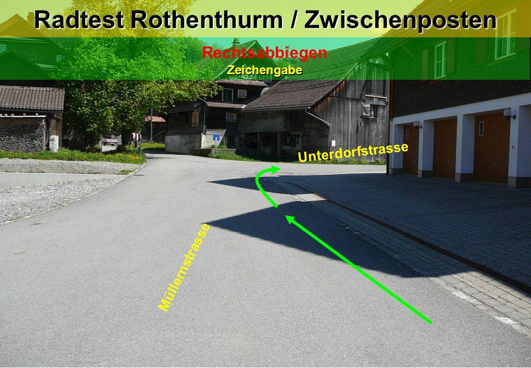 Zeichengabe Rechtsabbiegen Zeichengabe Radtest Rothenthurm / Zwischenposten Müllernstrasse Unterdorfstrasse