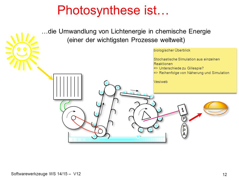 Softwarewerkzeuge WS 14/15 – V12 12 Photosynthese ist… …die Umwandlung von Lichtenergie in chemische Energie (einer der wichtigsten Prozesse weltweit)