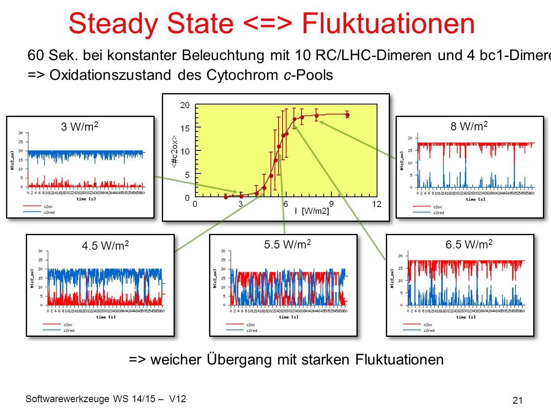 Softwarewerkzeuge WS 14/15 – V12 21 Steady State Fluktuationen 60 Sek. bei konstanter Beleuchtung mit 10 RC/LHC-Dimeren und 4 bc1-Dimeren => Oxidation