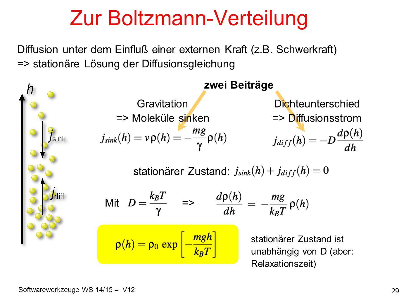 Softwarewerkzeuge WS 14/15 – V12 Zur Boltzmann-Verteilung 29 Diffusion unter dem Einfluß einer externen Kraft (z.B. Schwerkraft) => stationäre Lösung