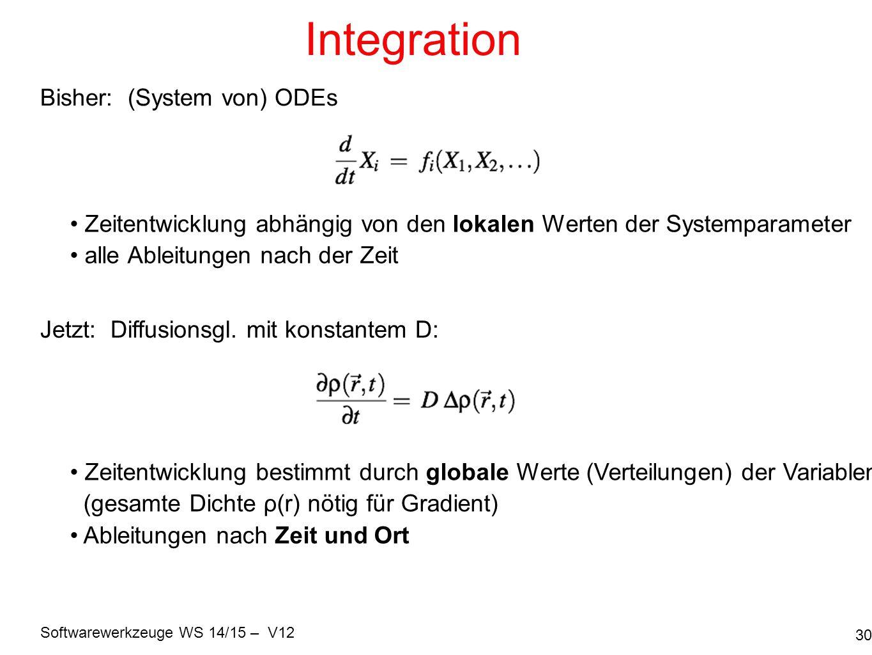Softwarewerkzeuge WS 14/15 – V12 Integration 30 Jetzt: Diffusionsgl. mit konstantem D: Bisher: (System von) ODEs Zeitentwicklung abhängig von den loka