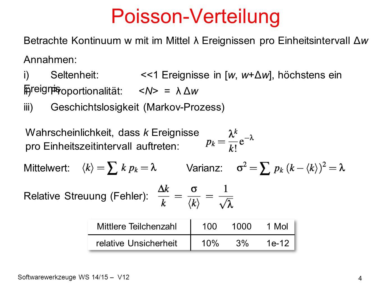 Softwarewerkzeuge WS 14/15 – V12 4 Poisson-Verteilung Wahrscheinlichkeit, dass k Ereignisse pro Einheitszeitintervall auftreten: Mittelwert:Varianz: R