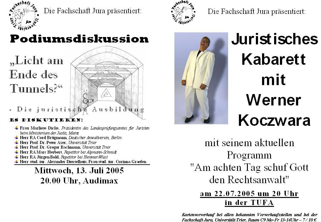 Wiss.Mitarbeiter Heiko A. Haller Universität Trier 3 SS 2005 Lösungsskizze Fall 13 I.