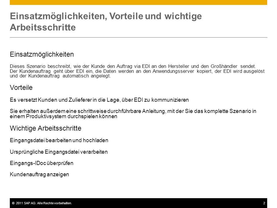 ©2011 SAP AG. Alle Rechte vorbehalten.2 Einsatzmöglichkeiten, Vorteile und wichtige Arbeitsschritte Einsatzmöglichkeiten Dieses Szenario beschreibt, w