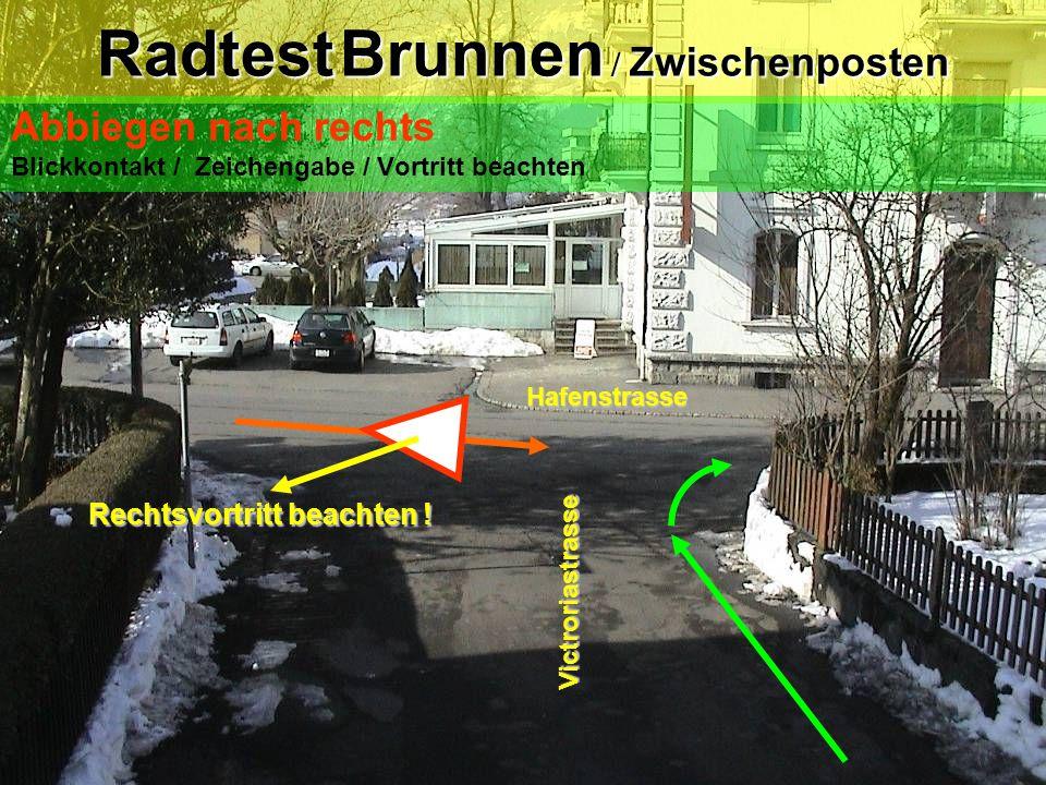 """Radtest Brunnen / Posten 3 Abbiegen nach links """"Trottoirüberfahrt"""" Blick zurück/ Zeichengabe/ Einspuren/ Vortritt beachten /kein Kurvenschneiden Gersa"""