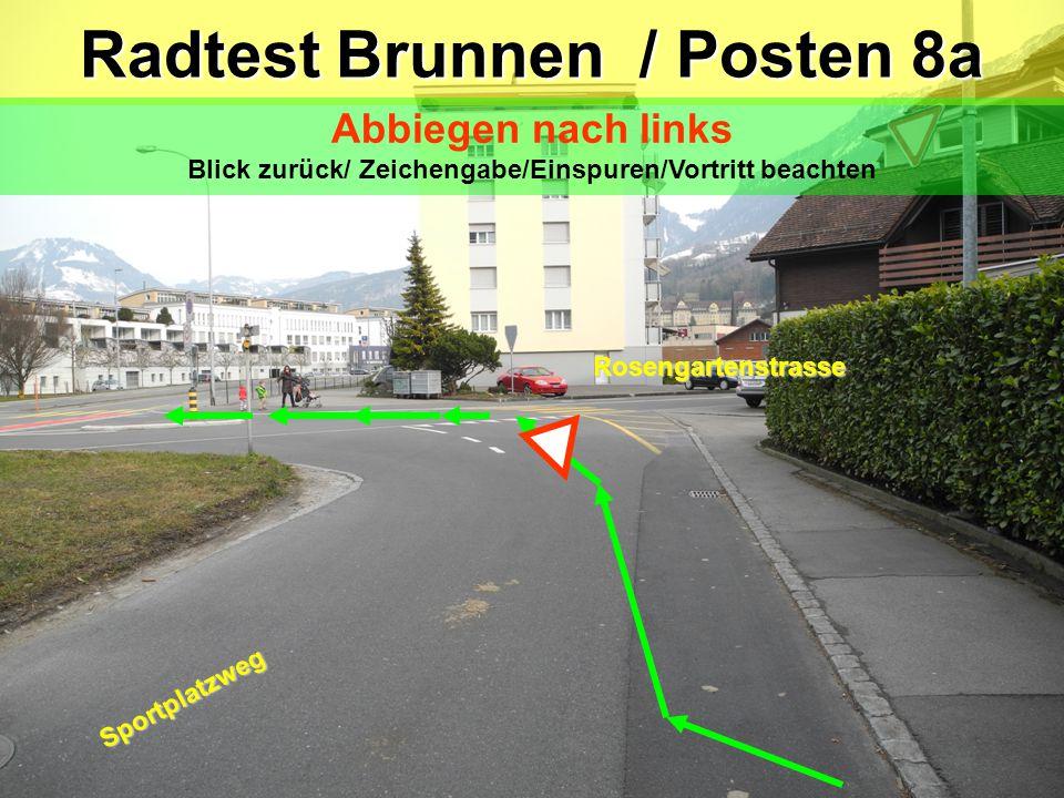 """Sportplatzweg Trottoir Variante """"laufen nicht fahren"""" Achtung: Gegenverkehr beachten Radtest Brunnen / Posten 7 Verhalten bei einem Hindernis Blick zu"""