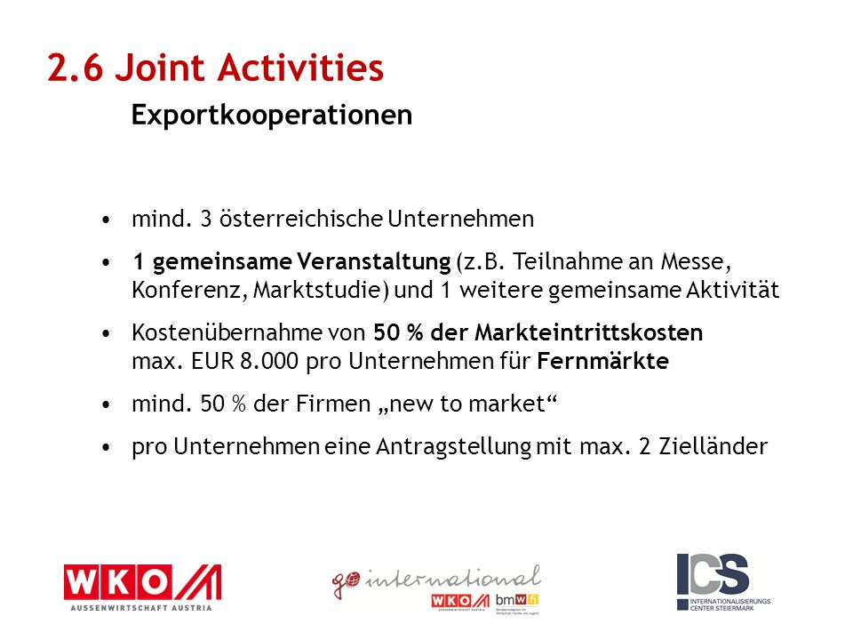 2.6 Joint Activities Exportkooperationen mind.
