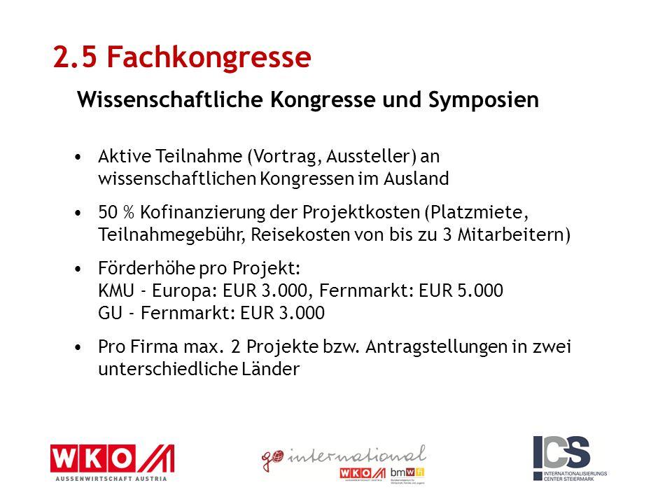 2.5 Fachkongresse Wissenschaftliche Kongresse und Symposien Aktive Teilnahme (Vortrag, Aussteller) an wissenschaftlichen Kongressen im Ausland 50 % Ko