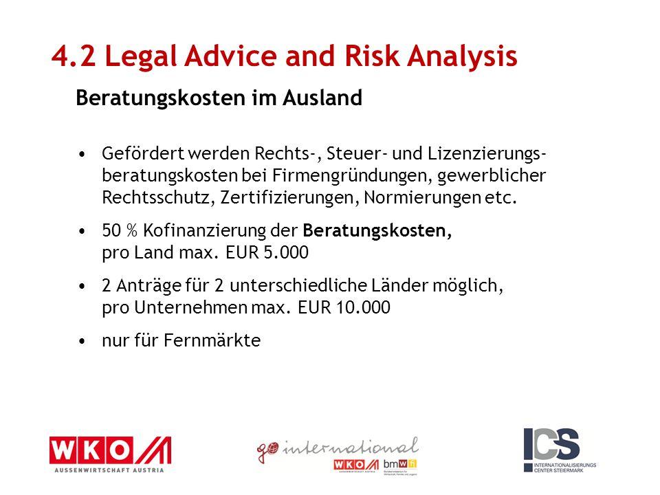 Gefördert werden Rechts-, Steuer- und Lizenzierungs- beratungskosten bei Firmengründungen, gewerblicher Rechtsschutz, Zertifizierungen, Normierungen etc.