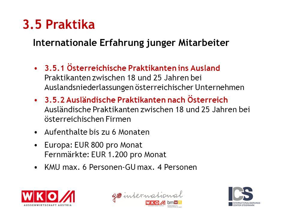3.5 Praktika Internationale Erfahrung junger Mitarbeiter 3.5.1 Österreichische Praktikanten ins Ausland Praktikanten zwischen 18 und 25 Jahren bei Aus