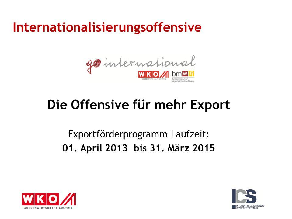 Die Offensive für mehr Export Exportförderprogramm Laufzeit: 01. April 2013 bis 31. März 2015 Internationalisierungsoffensive