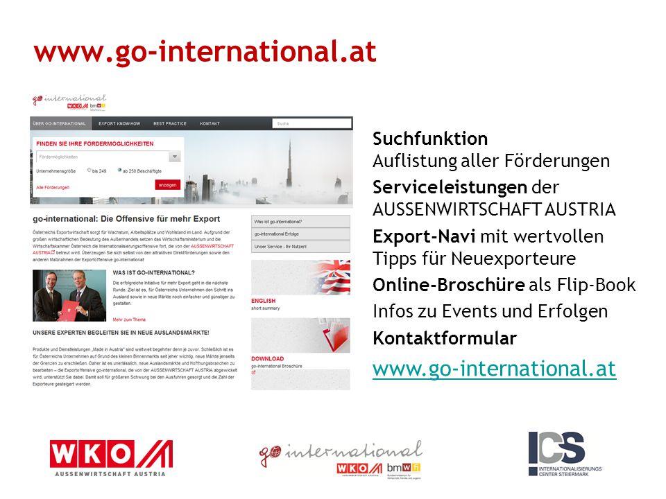 Suchfunktion Auflistung aller Förderungen Serviceleistungen der AUSSENWIRTSCHAFT AUSTRIA Export-Navi mit wertvollen Tipps für Neuexporteure Online-Bro
