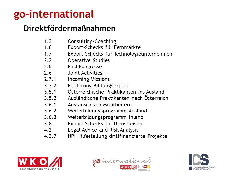1.3Consulting-Coaching 1.6Export-Schecks für Fernmärkte 1.7Export-Schecks für Technologieunternehmen 2.2Operative Studies 2.5Fachkongresse 2.6Joint Activities 2.7.1Incoming Missions 3.3.2Förderung Bildungsexport 3.5.1Österreichische Praktikanten ins Ausland 3.5.2Ausländische Praktikanten nach Österreich 3.6.1Austausch von Mitarbeitern 3.6.2Weiterbildungsprogramm Ausland 3.6.3Weiterbildungsprogramm Inland 3.8Export-Schecks für Dienstleister 4.2Legal Advice and Risk Analysis 4.3.7NPI Hilfestellung drittfinanzierte Projekte go-international Direktfördermaßnahmen