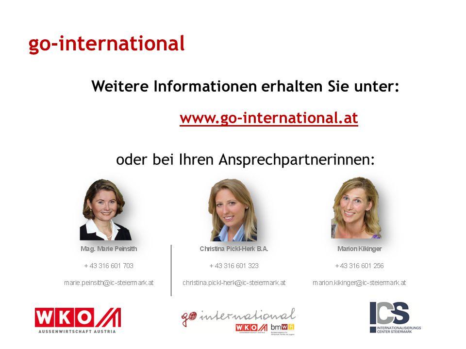 go-international Weitere Informationen erhalten Sie unter: www.go-international.at oder bei Ihren Ansprechpartnerinnen: