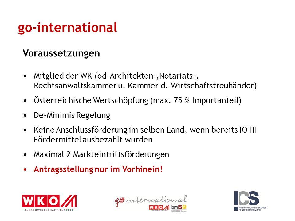 go-international Voraussetzungen Mitglied der WK (od.Architekten-,Notariats-, Rechtsanwaltskammer u. Kammer d. Wirtschaftstreuhänder) Österreichische