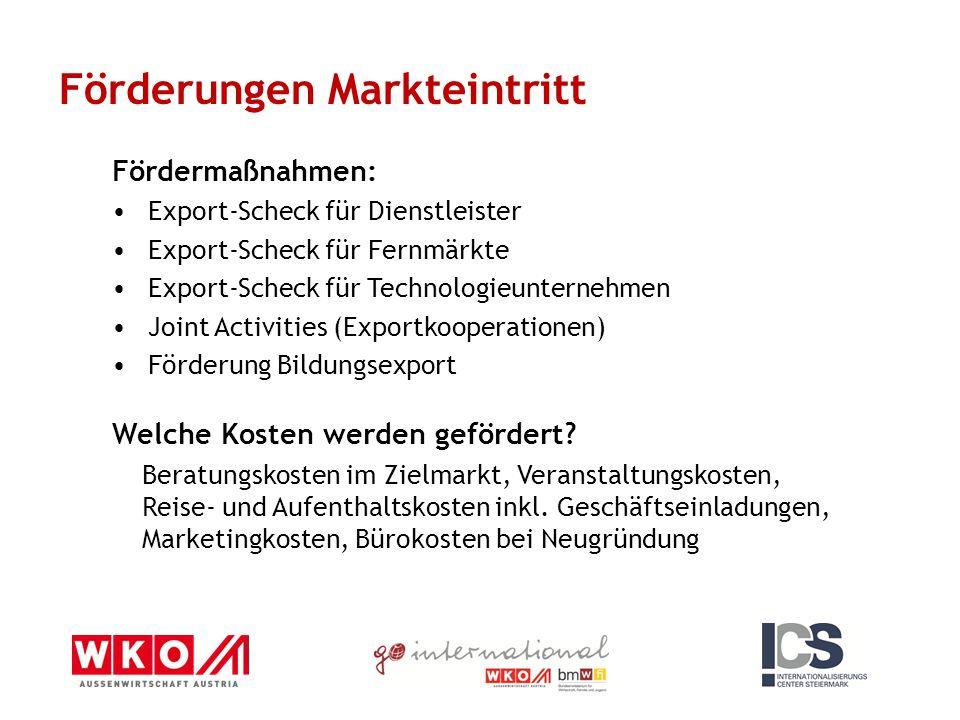 Fördermaßnahmen: Export-Scheck für Dienstleister Export-Scheck für Fernmärkte Export-Scheck für Technologieunternehmen Joint Activities (Exportkooperationen) Förderung Bildungsexport Welche Kosten werden gefördert.