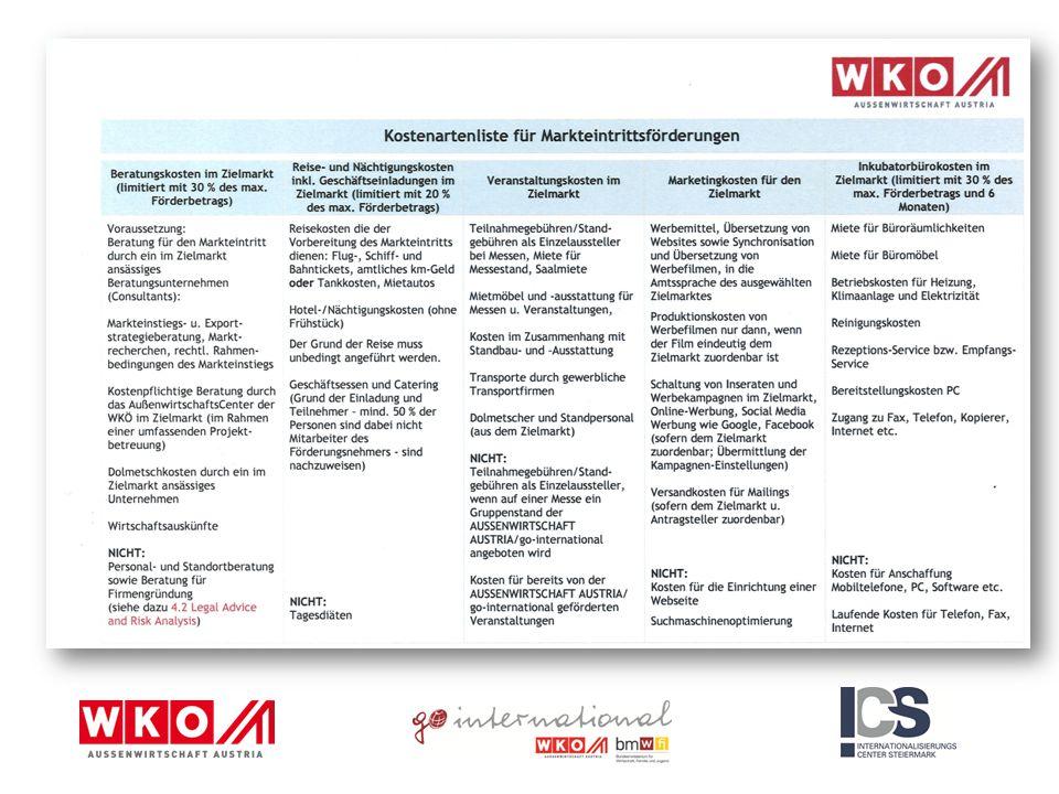 3.3.2 Bildungsexport Vermarktung von Bildung und Wissen Förderung der Markteintrittskosten für österreichische Bildungsanbieter (öffentliche und private) 50 % Kofinanzierungmax.