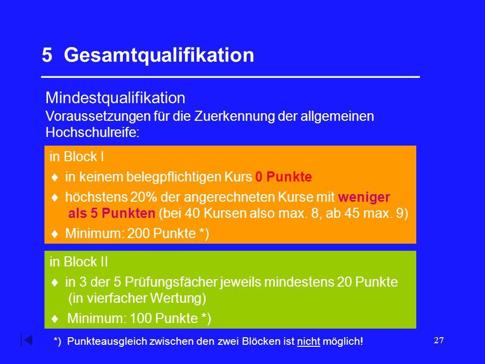 27 5 Gesamtqualifikation __________________________________ Mindestqualifikation in Block II in Block I Voraussetzungen für die Zuerkennung der allgemeinen Hochschulreife:  in keinem belegpflichtigen Kurs 0 Punkte  höchstens 20% der angerechneten Kurse mit weniger als 5 Punkten (bei 40 Kursen also max.