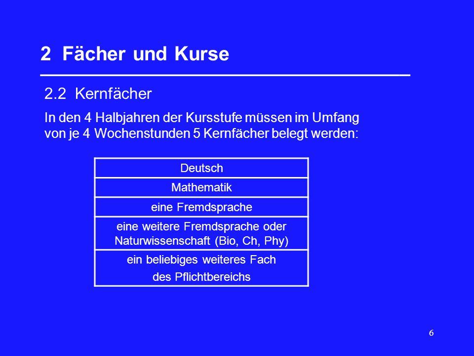 6 2 Fächer und Kurse __________________________________ 2.2 Kernfächer Deutsch Mathematik eine Fremdsprache eine weitere Fremdsprache oder Naturwissen