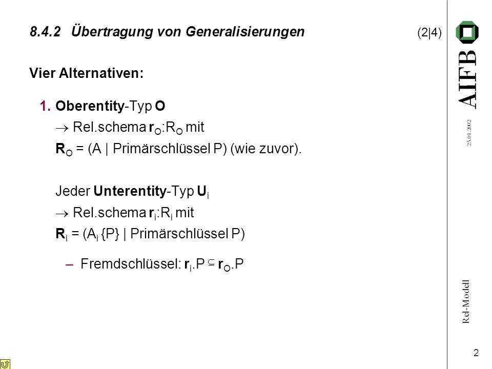 Rel-Modell 25.01.2002 3 8.4.2Übertragung von Generalisierungen (3|4) 2.Für den Oberentity-Typ wird kein eigenes Schema erstellt: Jeder Unterentity-Typ U i  Rel.Schema r i :R i mit R i = (A A i | Primärschlüssel P) 3.Für O, U 1, U 2,..., U k wird ein einziges Rel.Schema r: R erstellt mit R = (A A 1...