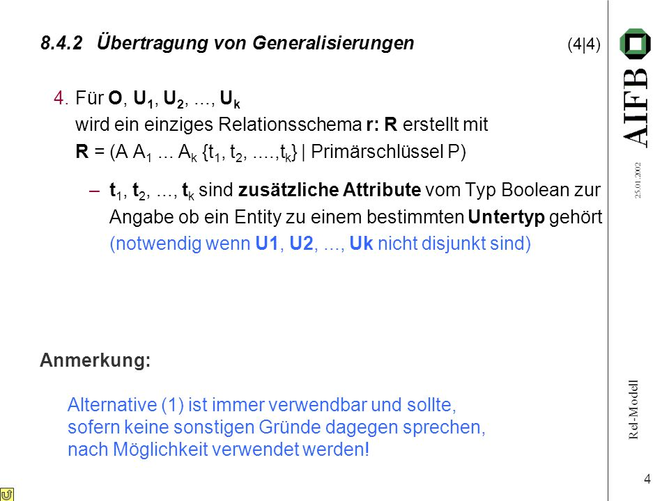 Rel-Modell 25.01.2002 4 8.4.2Übertragung von Generalisierungen (4|4) 4.Für O, U 1, U 2,..., U k wird ein einziges Relationsschema r: R erstellt mit R = (A A 1...