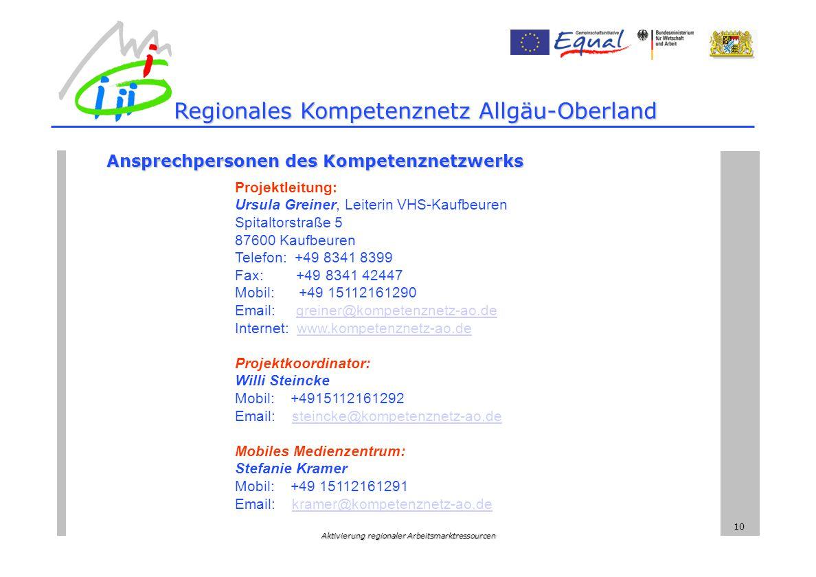 Aktivierung regionaler Arbeitsmarktressourcen 10 Ansprechpersonen des Kompetenznetzwerks Projektleitung: Ursula Greiner, Leiterin VHS-Kaufbeuren Spitaltorstraße 5 87600 Kaufbeuren Telefon: +49 8341 8399 Fax: +49 8341 42447 Mobil: +49 15112161290 Email: greiner@kompetenznetz-ao.de Internet: www.kompetenznetz-ao.degreiner@kompetenznetz-ao.dewww.kompetenznetz-ao.de Projektkoordinator: Willi Steincke Mobil: +4915112161292 Email: steincke@kompetenznetz-ao.desteincke@kompetenznetz-ao.de Mobiles Medienzentrum: Stefanie Kramer Mobil: +49 15112161291 Email: kramer@kompetenznetz-ao.dekramer@kompetenznetz-ao.de Regionales Kompetenznetz Allgäu-Oberland