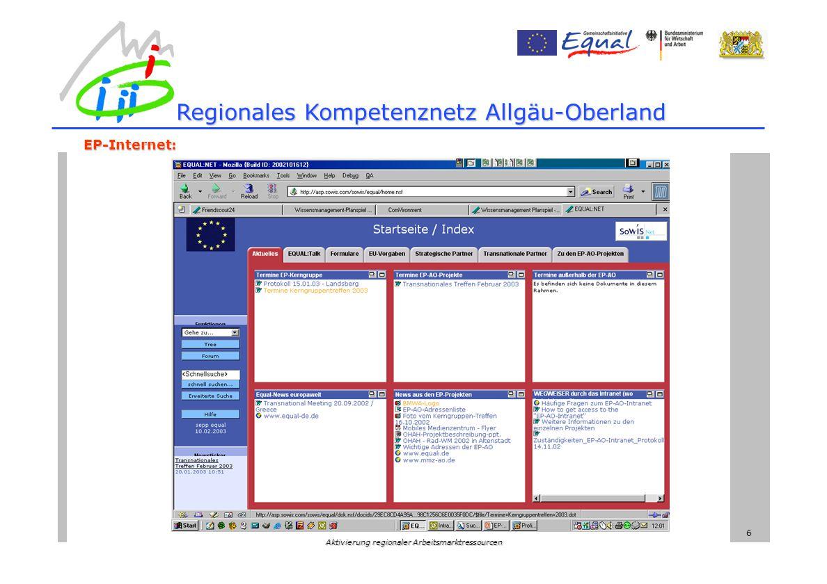 Aktivierung regionaler Arbeitsmarktressourcen 6 Regionales Kompetenznetz Allgäu-Oberland EP-Internet: